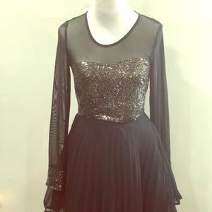 Ax Paris Mesh Skater Sequin Party Dress